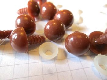 Solid Brown Plastic Safety Eyes 6mm 8mm 10mm 12mm  for soft toys and teddies